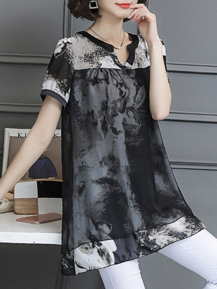 Black Casual Printed Chiffon Paneled Mesh Abstract Shift Tops