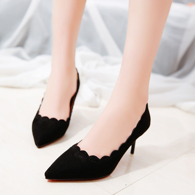 Pointed Toe Slip-On Suede Women Pumps
