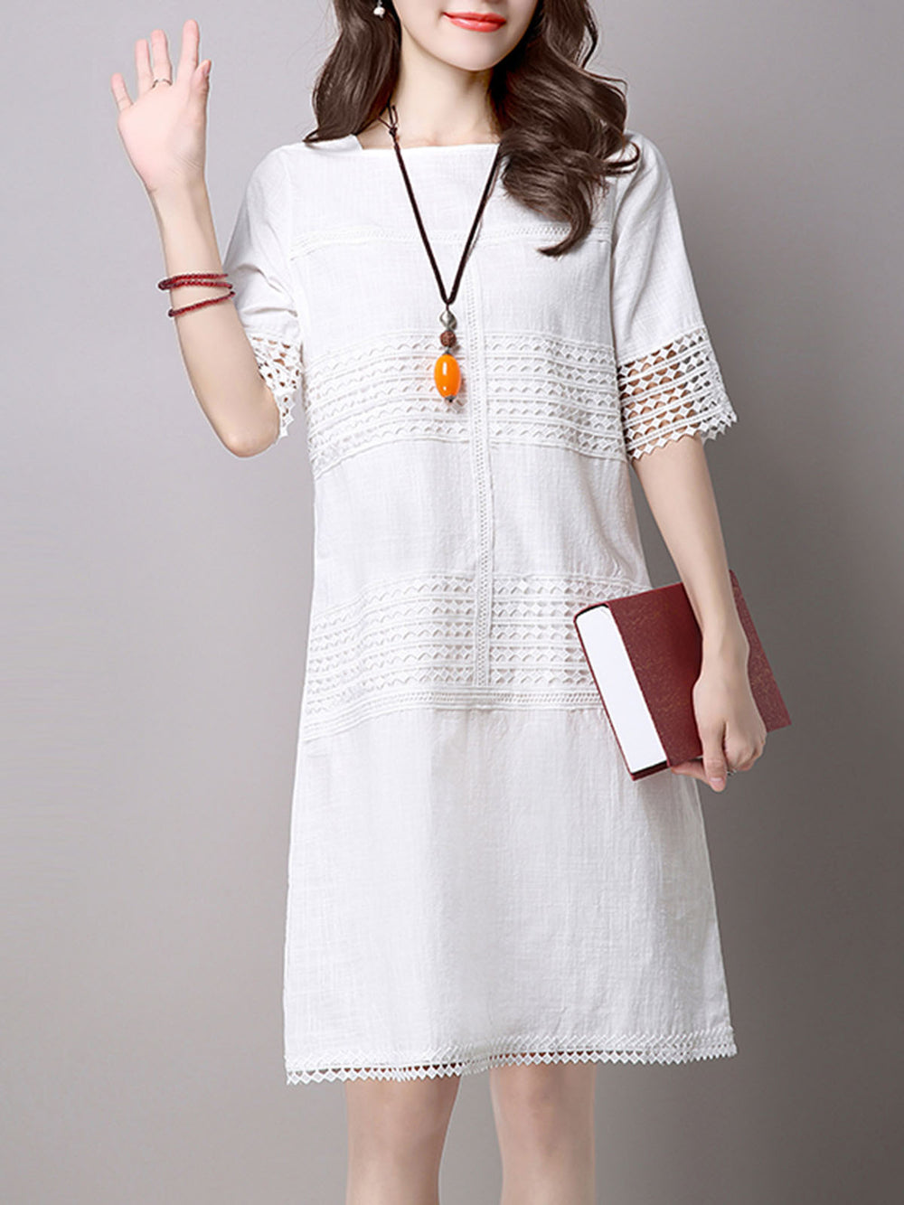 A-line Short Sleeve Pierced Crew Neck Casual Dress