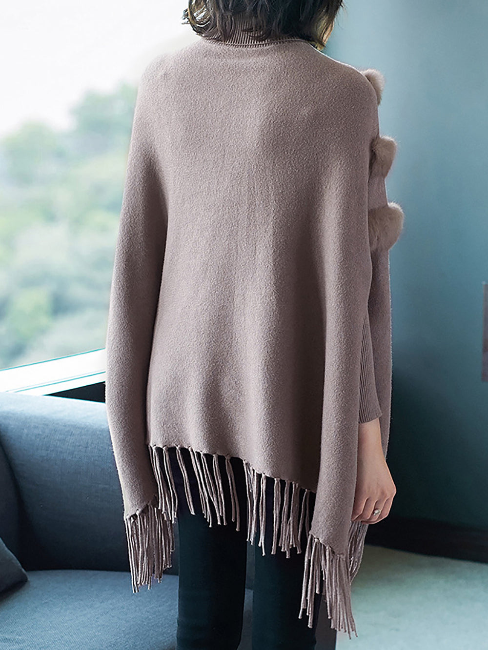 Turtleneck Fur Fringed A-Line Batwing Sweater