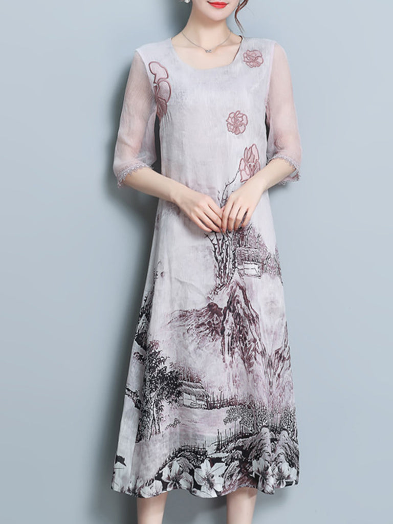 Pink Abstract Printed 3/4 Sleeve Dress