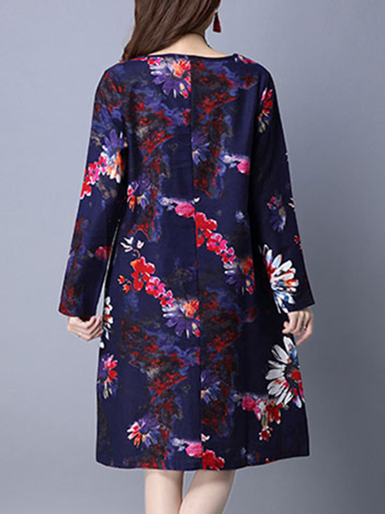 Casual Crew Neck Shift Floral Dress
