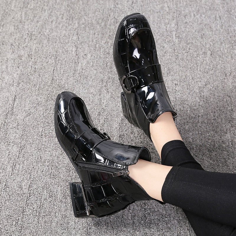 Women Ankle PU Zipper Square Toe Chunky Heel Boots
