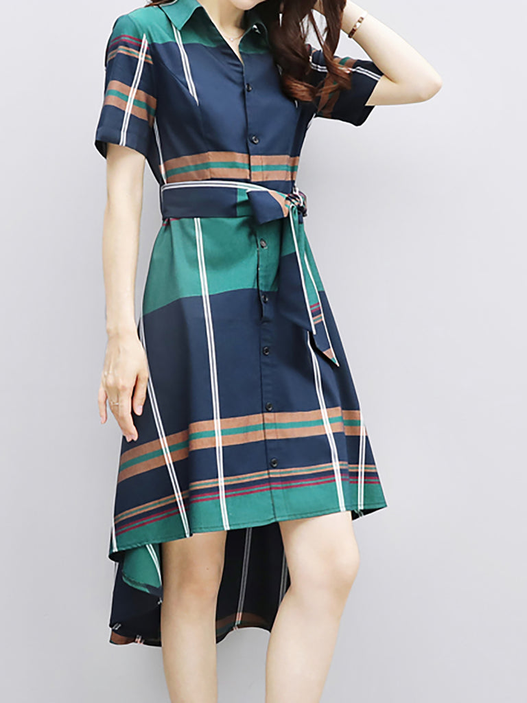 Shirt Collar Short Sleeve Asymmetric Checkered/Plaid Green Midi Dress