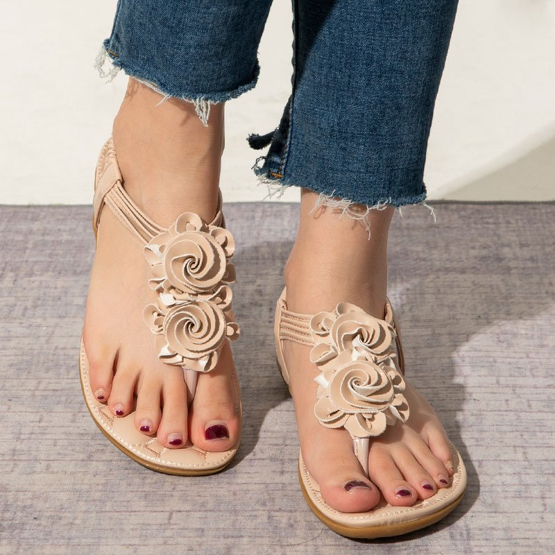 Flower Bohemia Clip Toe Elastic Flat Sandals For Women