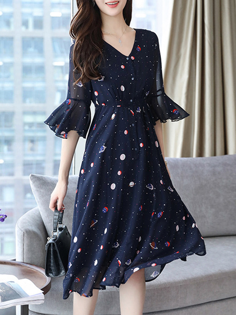 Swing Floral Frill Sleeve Printed V-Neck Dress