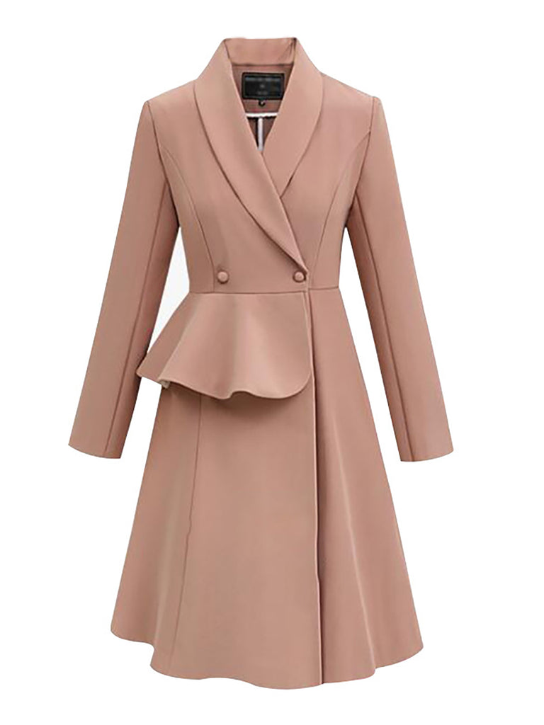 Solid Shawl Collar Elegant Long Sleeve A-Line Work Trench Coat