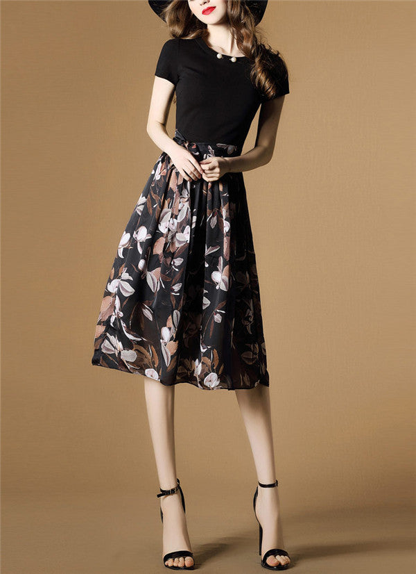Crew Neck Floral Elegant Short Sleeve Midi Dress