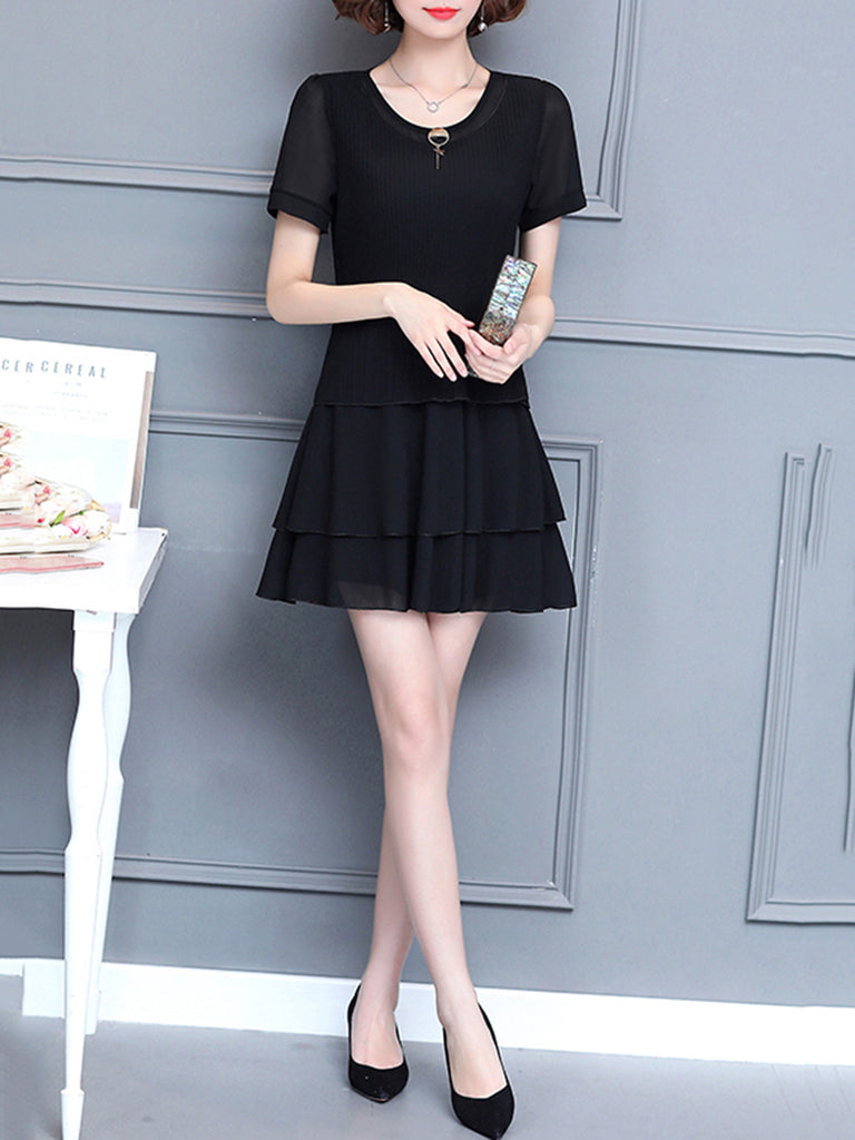Casual Solid Crew Neck Chiffon Dress