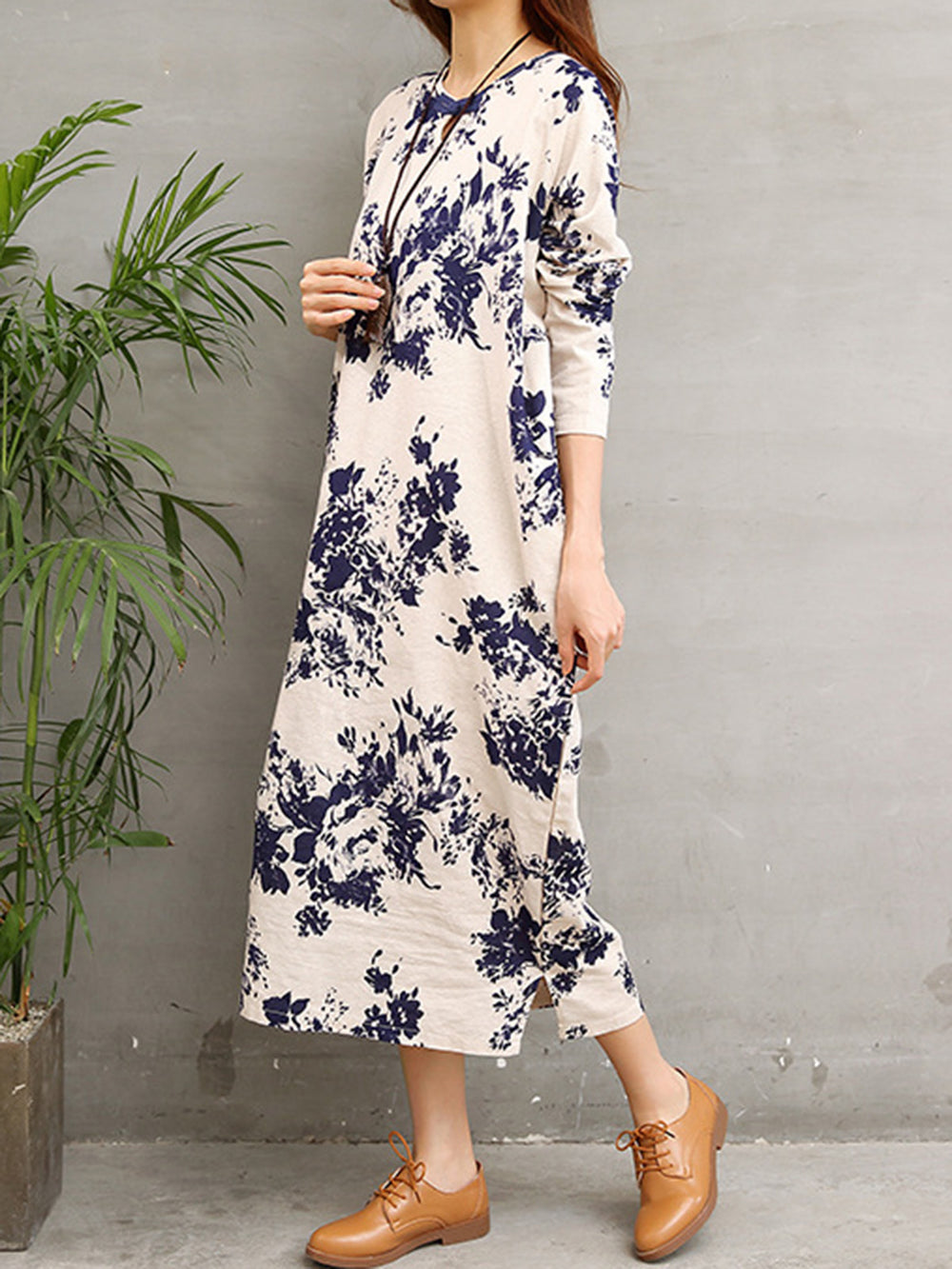 Apricot Casual Floral Linen Dress