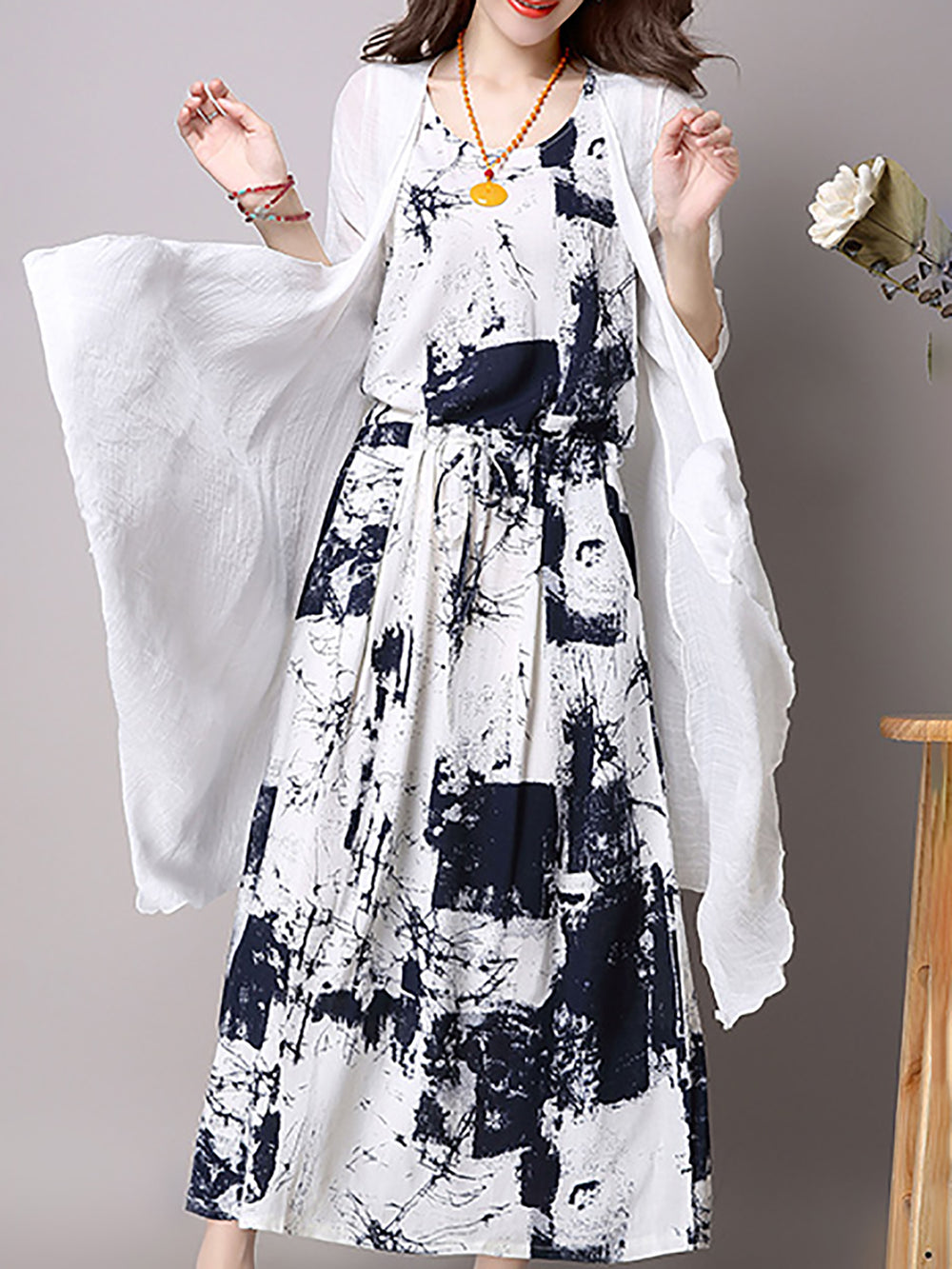 Deep Blue Casual Printed Linen Dress
