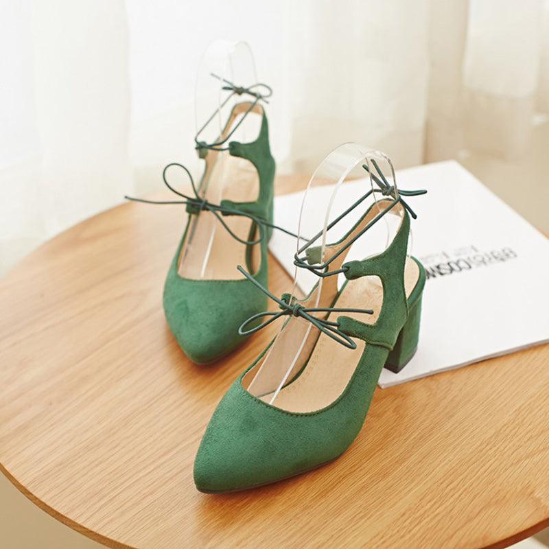 Pointed Toe Daily Summer Chunky Heel Lace-up Sandals
