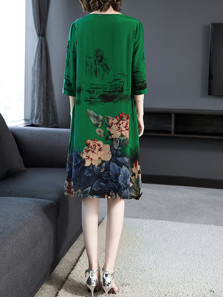 Pockets Crew Neck Casual Floral Dress