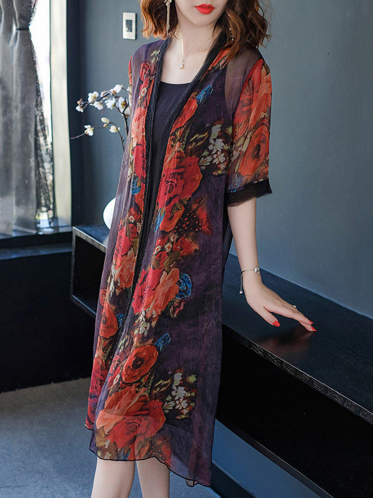 Floral Printed Casual Two Pieces Chiffon Dress