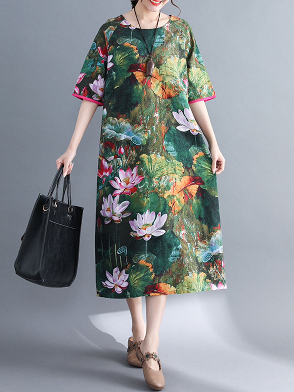 Dark Green Casual Floral Printed Shift Dress