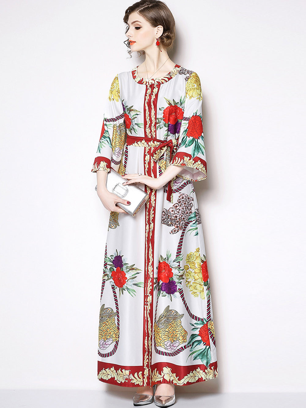 Plus Size Women Long Sleeve Print Maxi Long Dresses Red