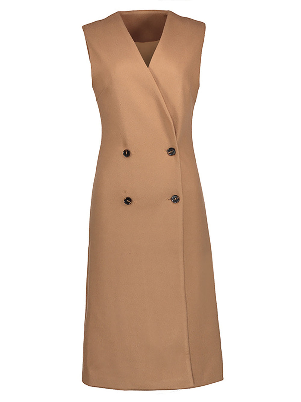 Camel Sleeveless Shift Buttoned Solid Vests And Gilets