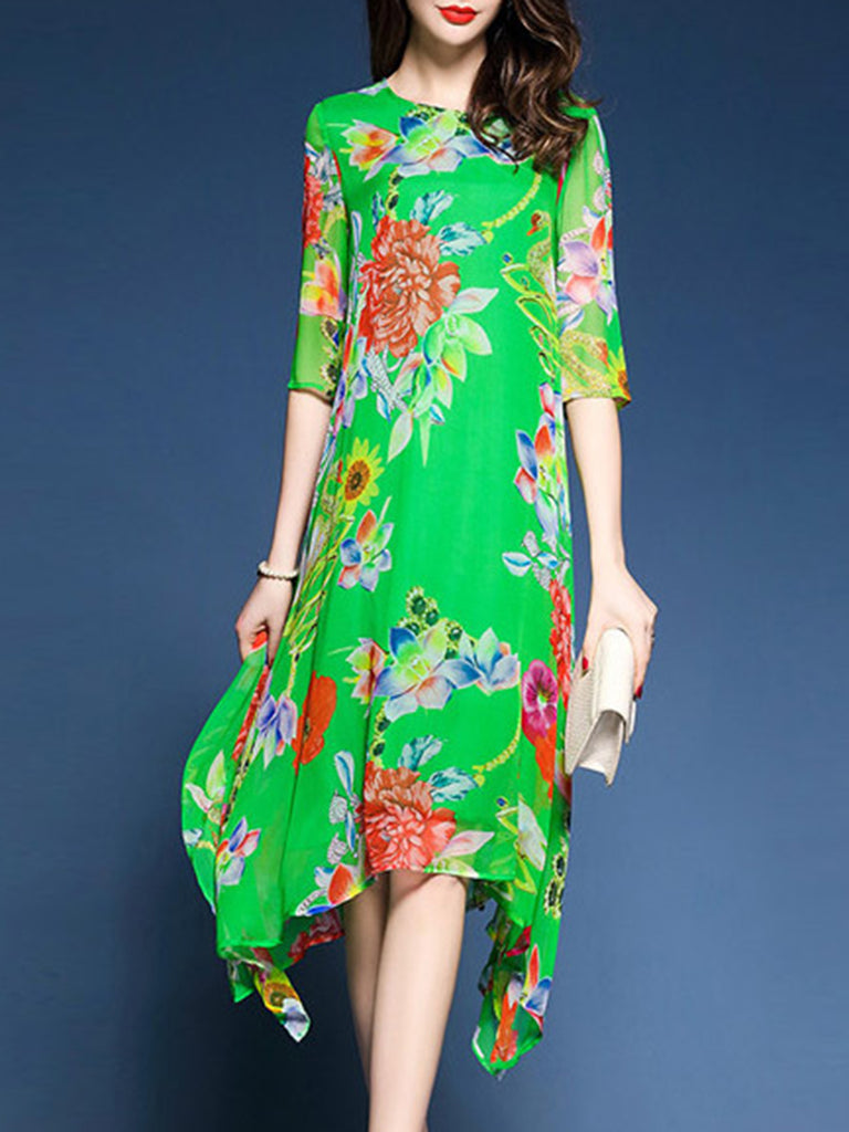 Floral Chiffon 3/4 Sleeve Elegant Printed  Dress