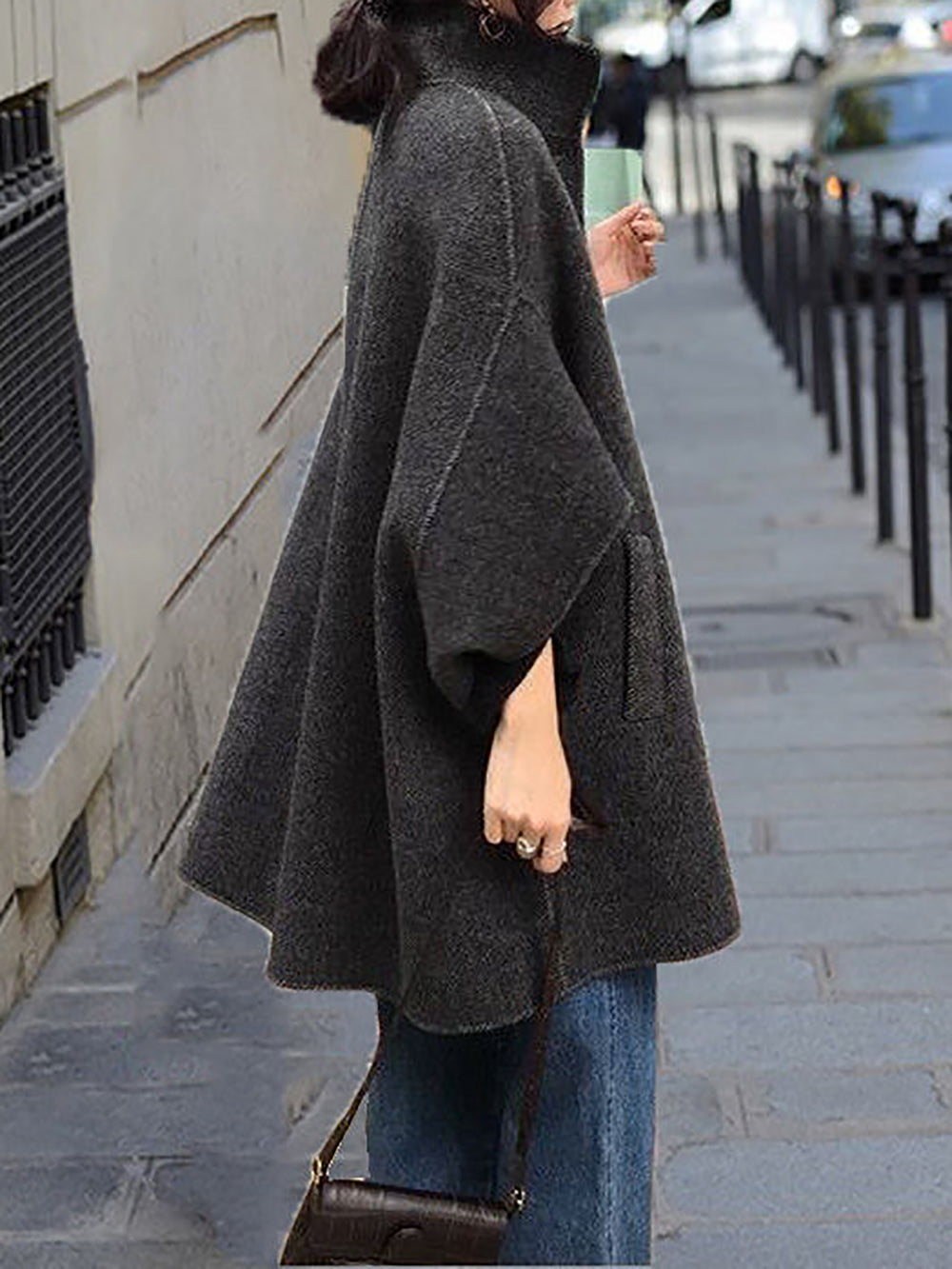 Elegant Pockets Shift Buttoned Poncho And Capes