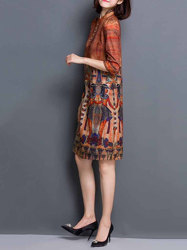 Brown Satin Elegant Graphic Printed A-line 3/4 Sleeve Dress