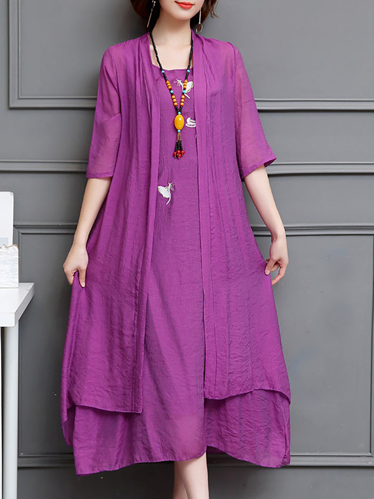 Orange Crew Neck Casual Linen Dress
