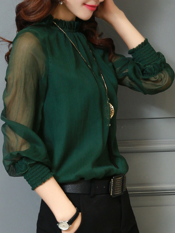 Paneled Casual Women's Blouse