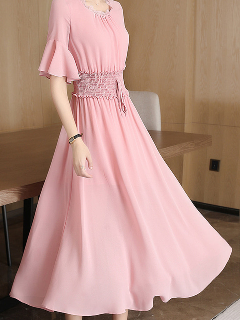 Pink Holiday Chiffon Swing Dress
