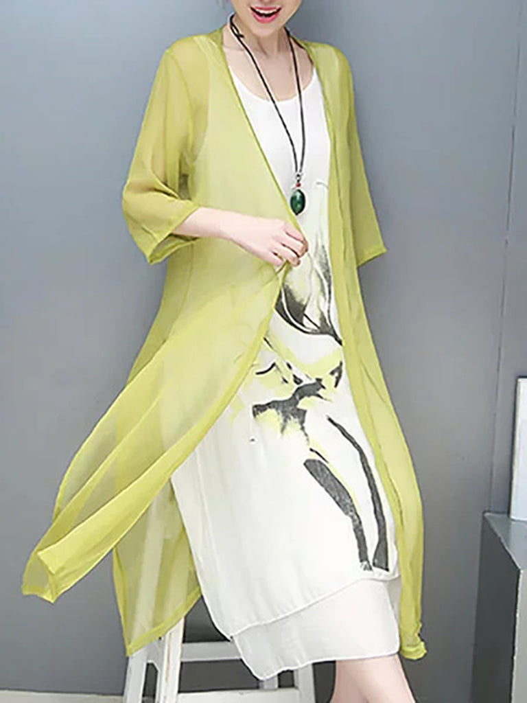 Green Casual Linen Printed  Dress
