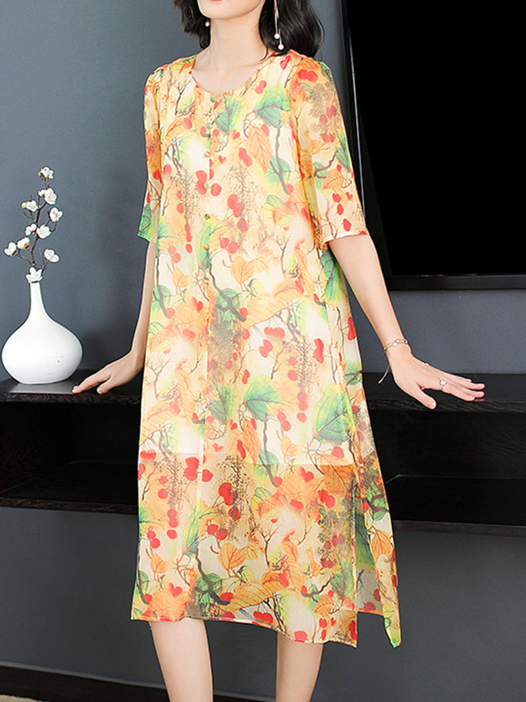 Floral Printed Casual A-line Slit Half Sleeve Dress