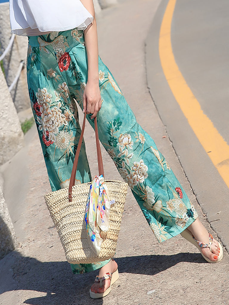Blue Printed Casual Floral Wide Leg Pant
