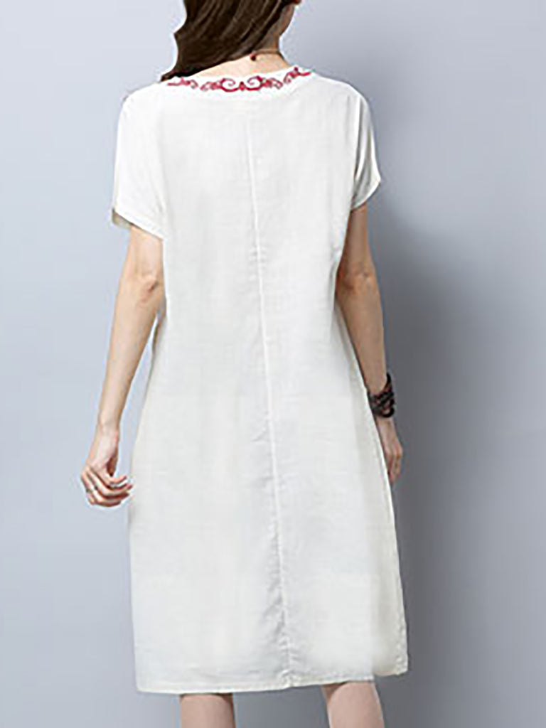 Pink Cotton V Neck Casual Shift Linen Dress