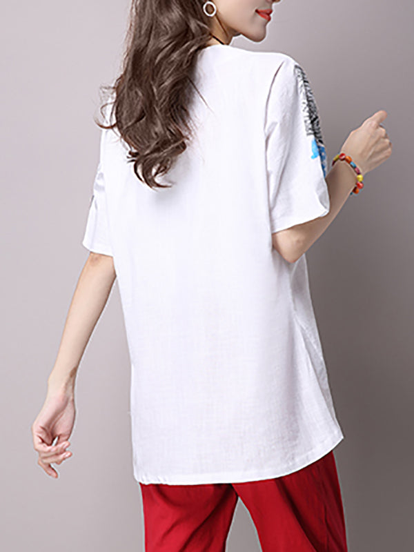 Bow Solid Casual Crew Neck Linen Cloth