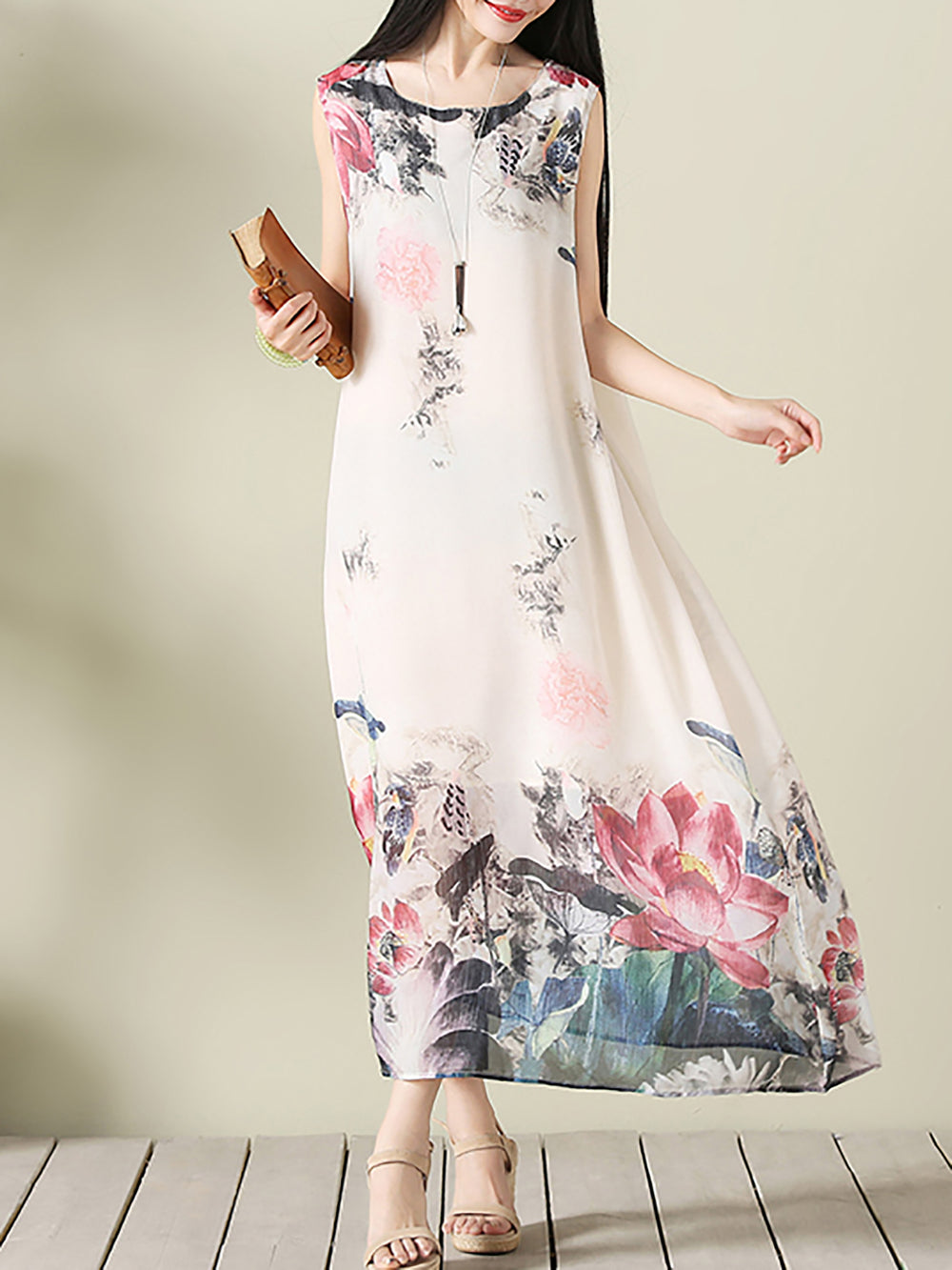 Pink Casual Crew Neck Floral Linen Dress