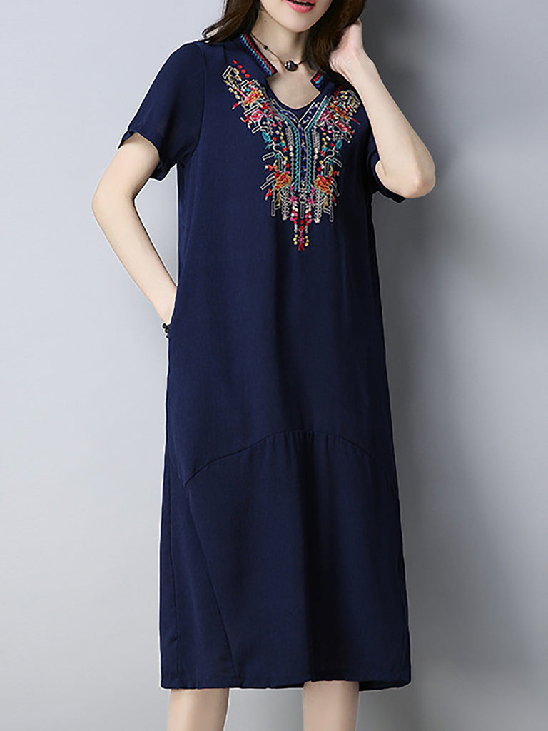 Navy Blue Casual Embroidered Linen Dress