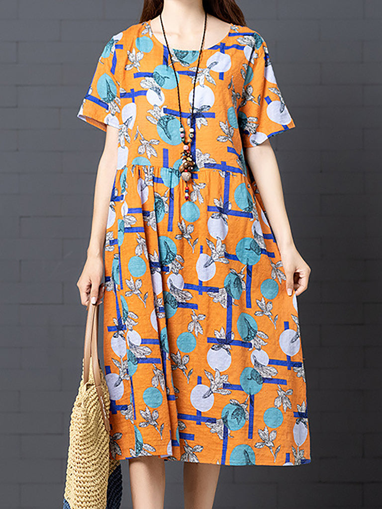 Abstract Casual Crew Neck Cotton Linen Dress