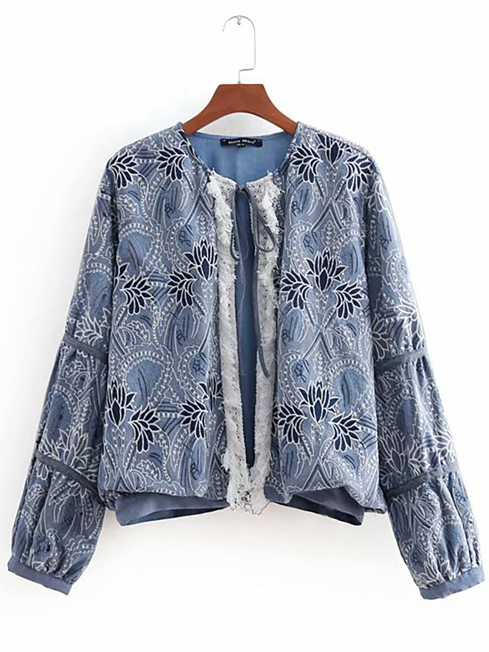 Embroidered Statement Blue Tie-Neck Long Sleeve Tribal Coat