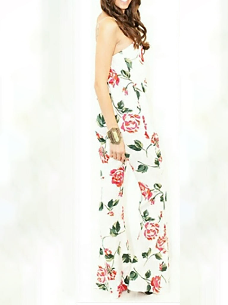 White Floral Spaghetti Holiday Printed Jumpsuit
