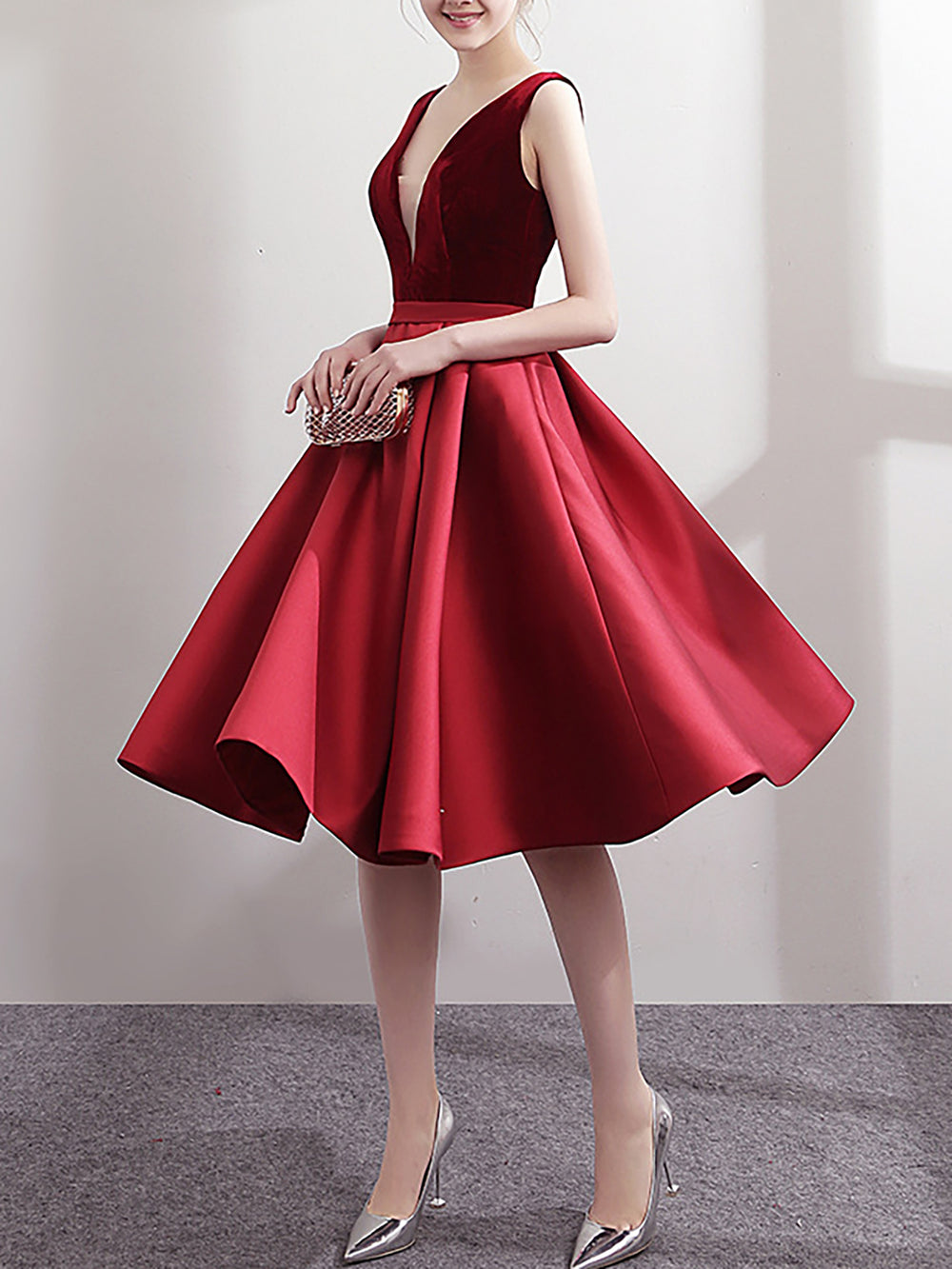 Deep V-Neck Swing Party & Evening Solid Midi Dress With Belt