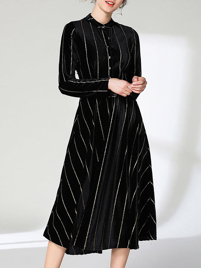 Black Stand Collar A-Line Velvet Long Sleeve Striped Midi Dress