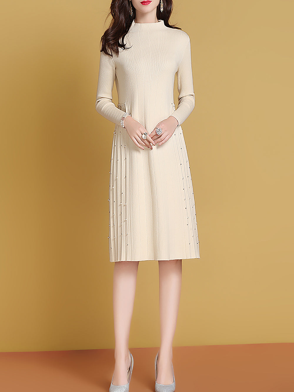 Winter Apricot Solid Knitted Casual Beaded Sweater Dress