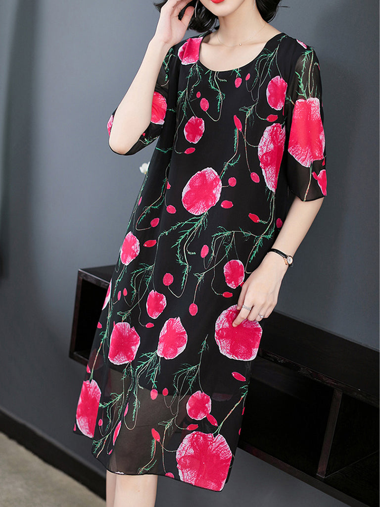 Black Crew Neck Floral Shift Casual  Dress