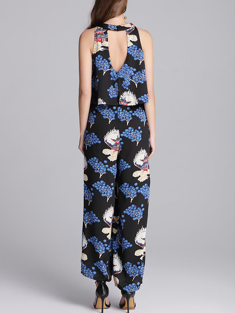 Black Leaf Sleeveless Printed Jumpsuit