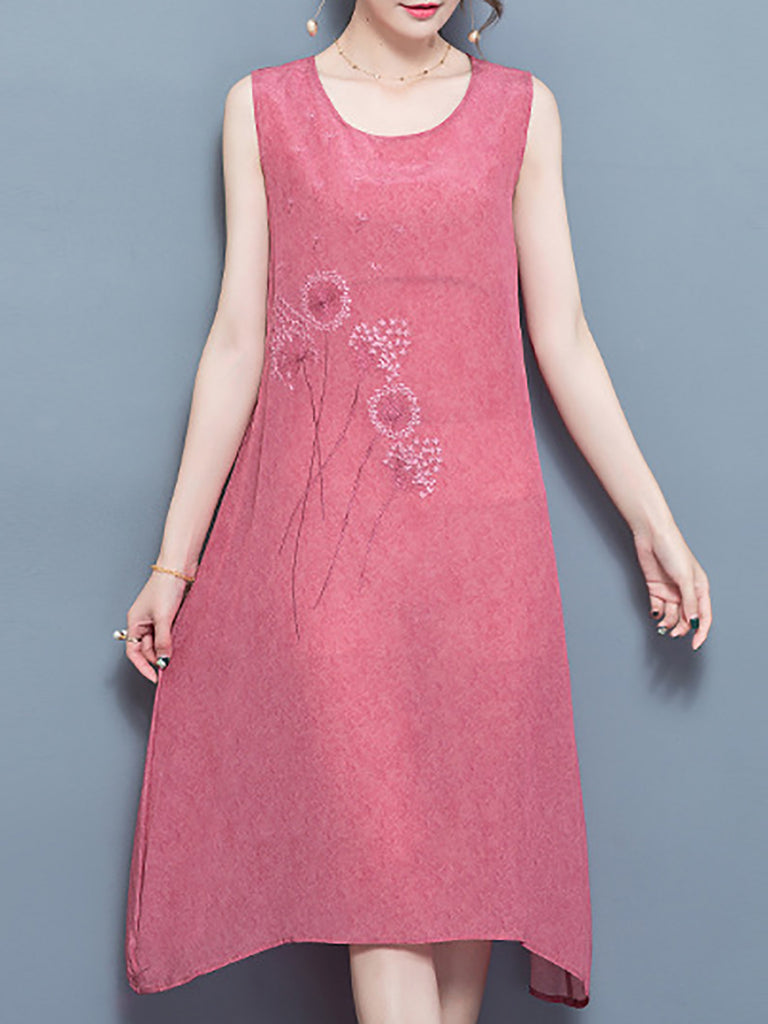 Shift Elegant Embroidered Crew Neck Leaf Vintage Dress