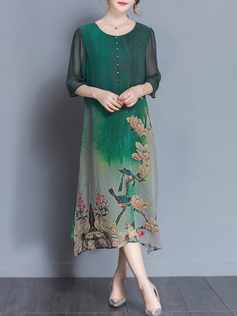 Green Asymmetrical Casual Printed Crew Neck Print Dress