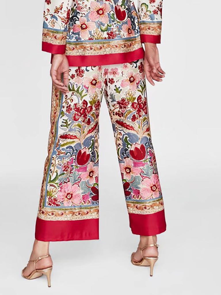 Red Floral Casual Printed  Wide Leg Pant
