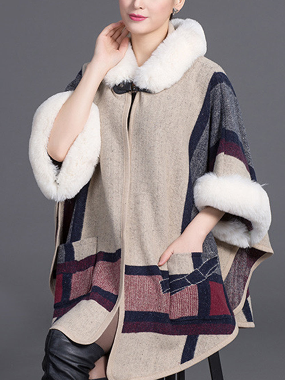 Winter/Fall Fashion Faux Fur Hooded Cloak Coats