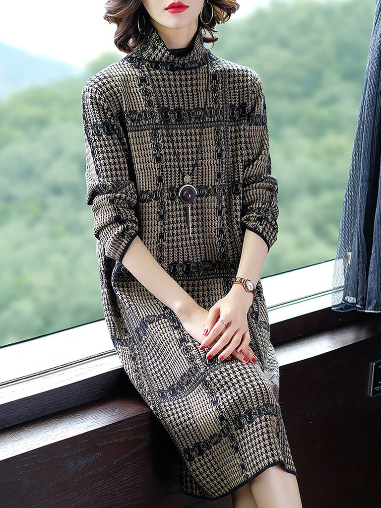 Black Turtleneck Houndstooth Knitted Casual Sweater Dresses
