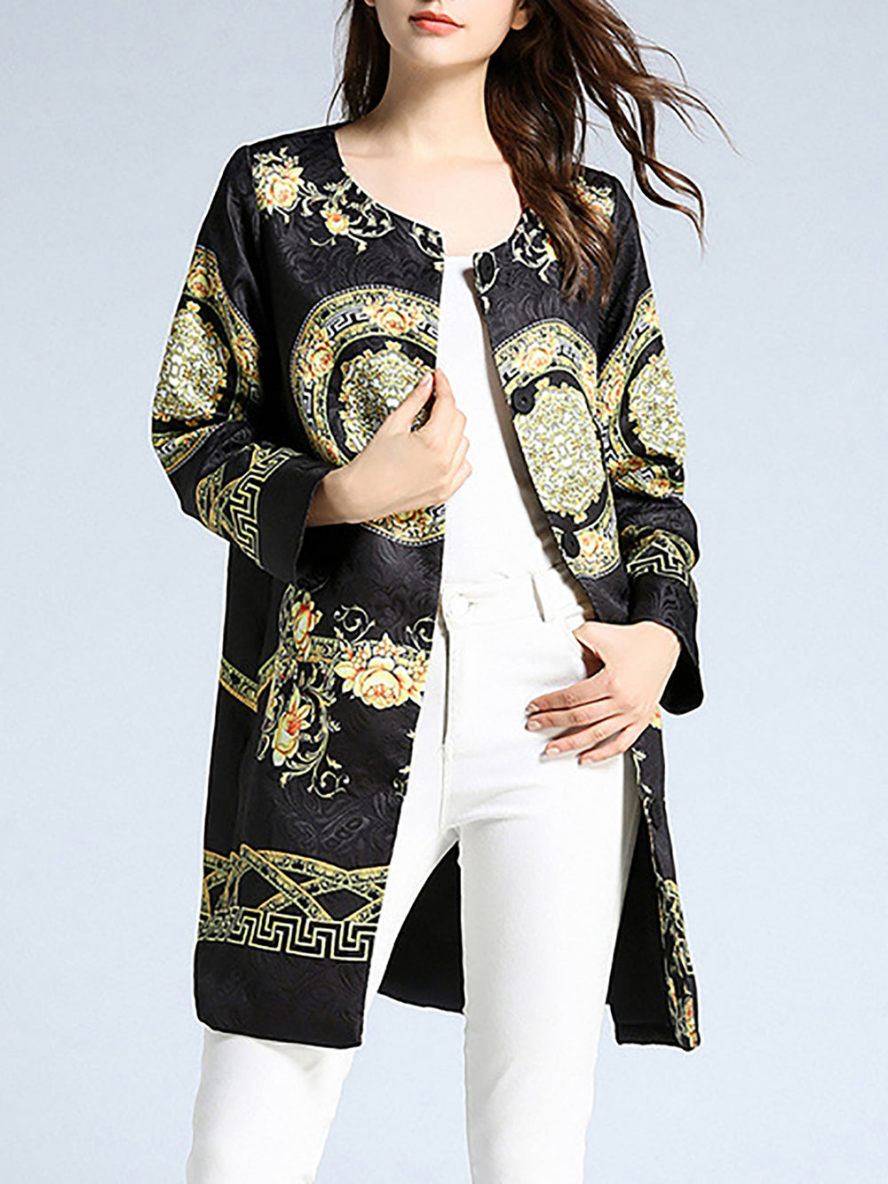Black Vintage Crew Neck Tribal Pockets Shift Coat