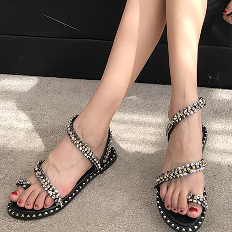 Rhinestone PU Summer Daily Sandals