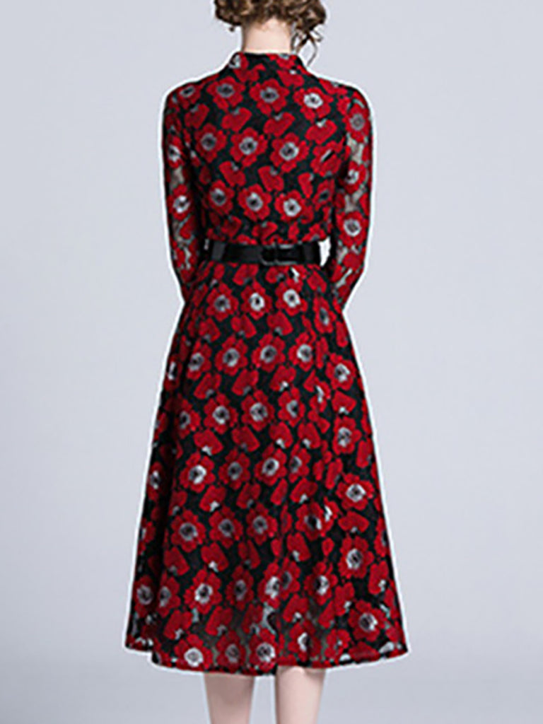 Red Stand Collar A-Line Cocktail Buttoned Midi Dress